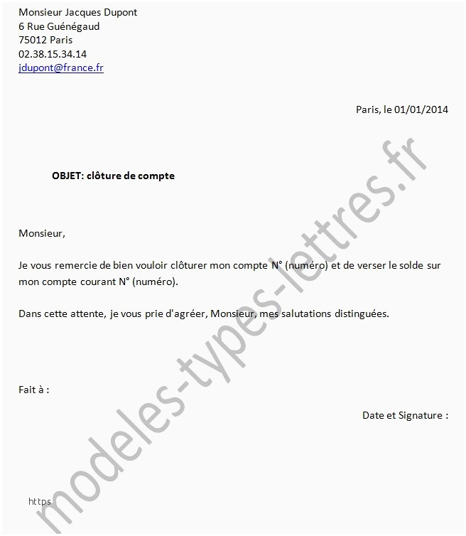 lettre type cloture compte courant