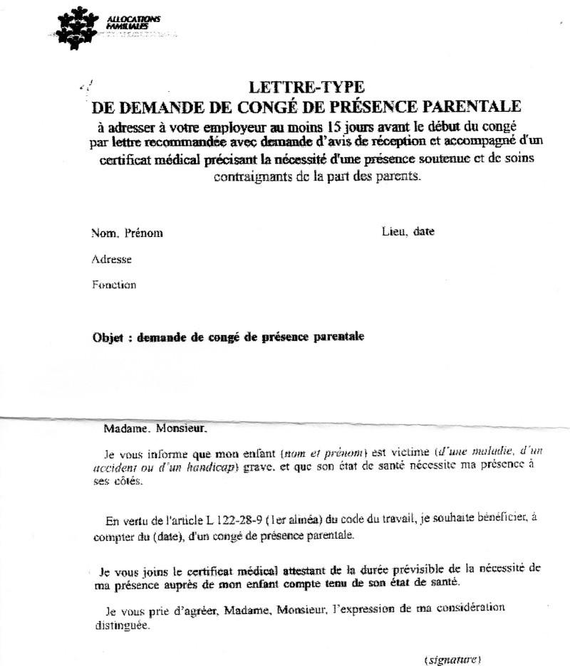 lettre type conge parental belgique
