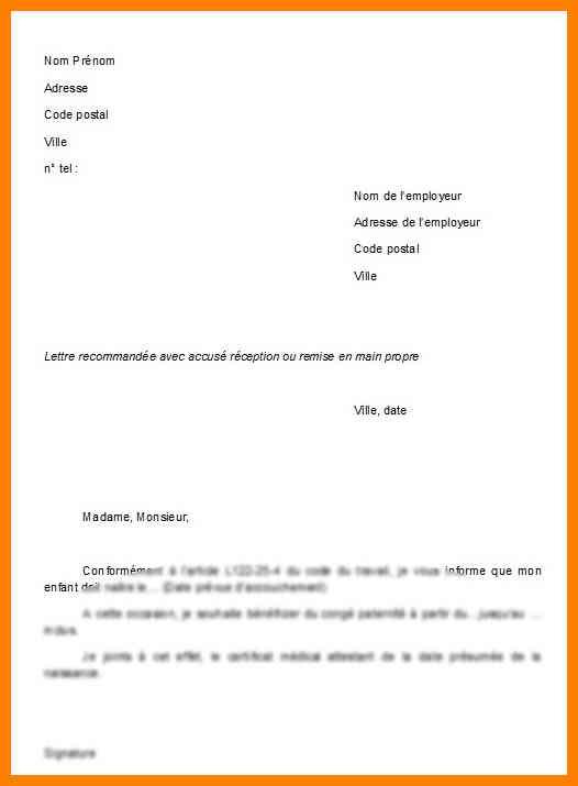 lettre type conge paternite