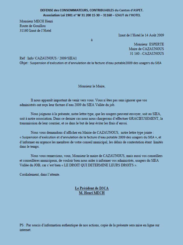 lettre type contestation facture