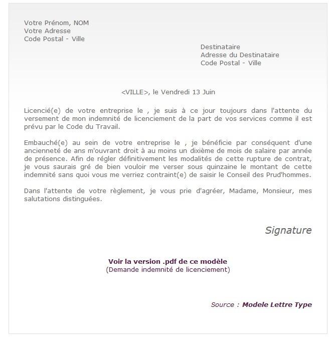 Lettre Type De Contestation De Licenciement Pour Faute Grave
