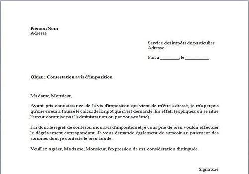 lettre type de contestation gratuite
