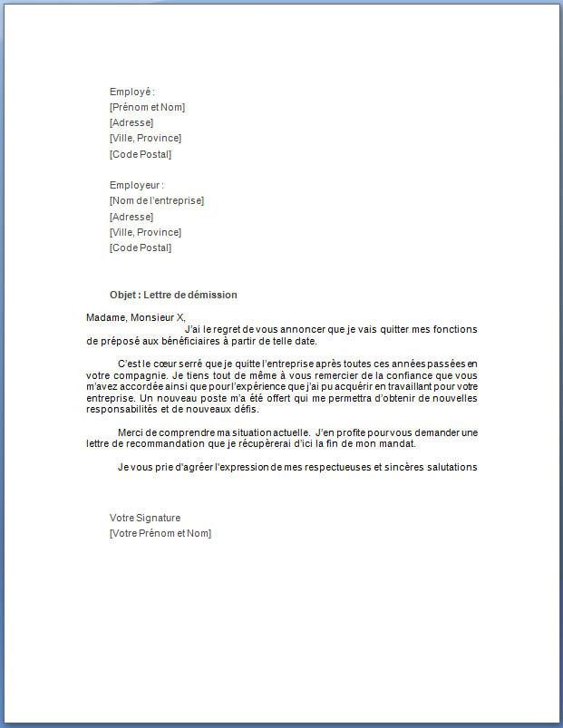 lettre type de demission sans preavis - Modele de lettre type