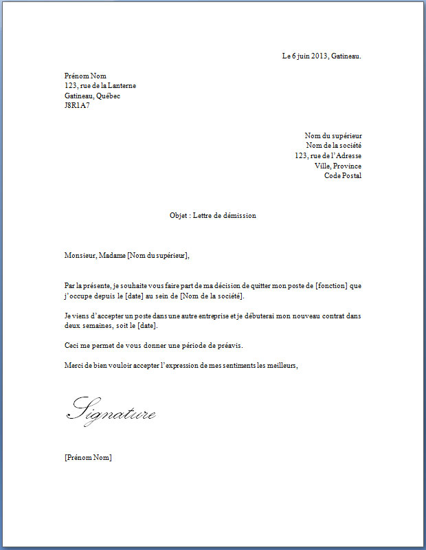 lettre type de demission