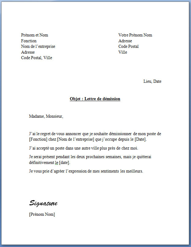 lettre type de preavis