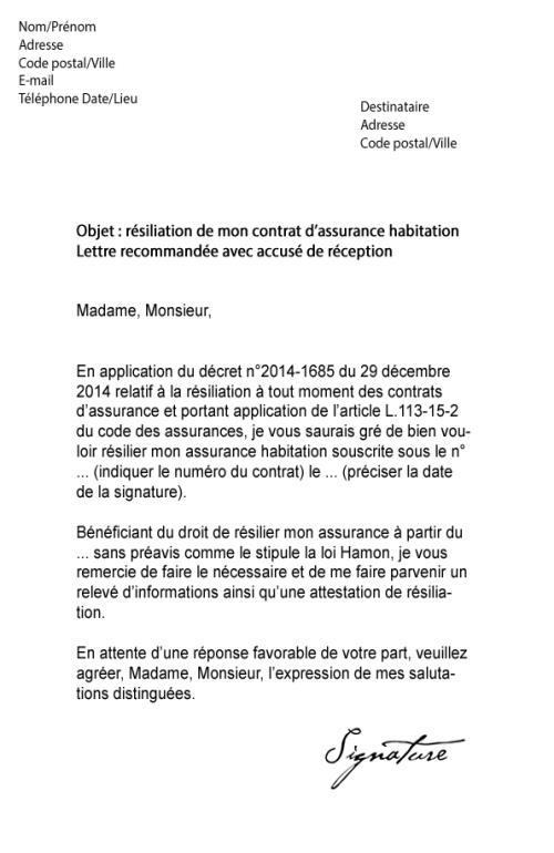 lettre type de resiliation de contrat d'assurance