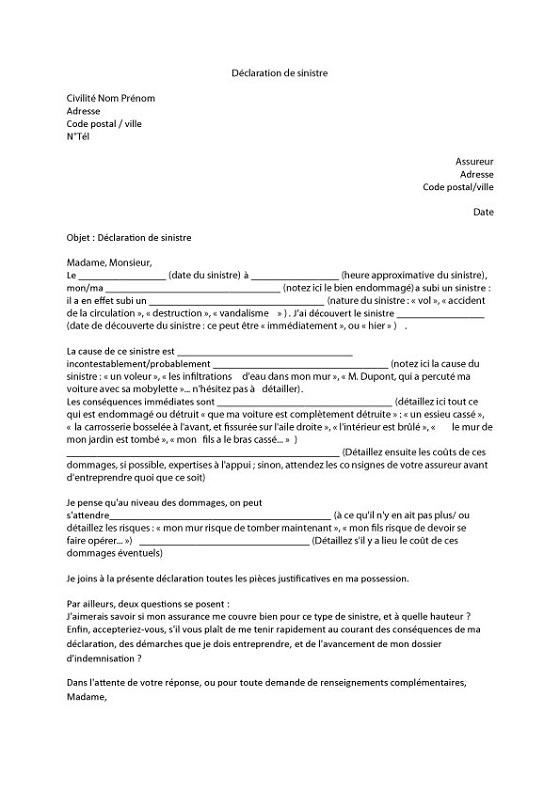 lettre type declaration assurance