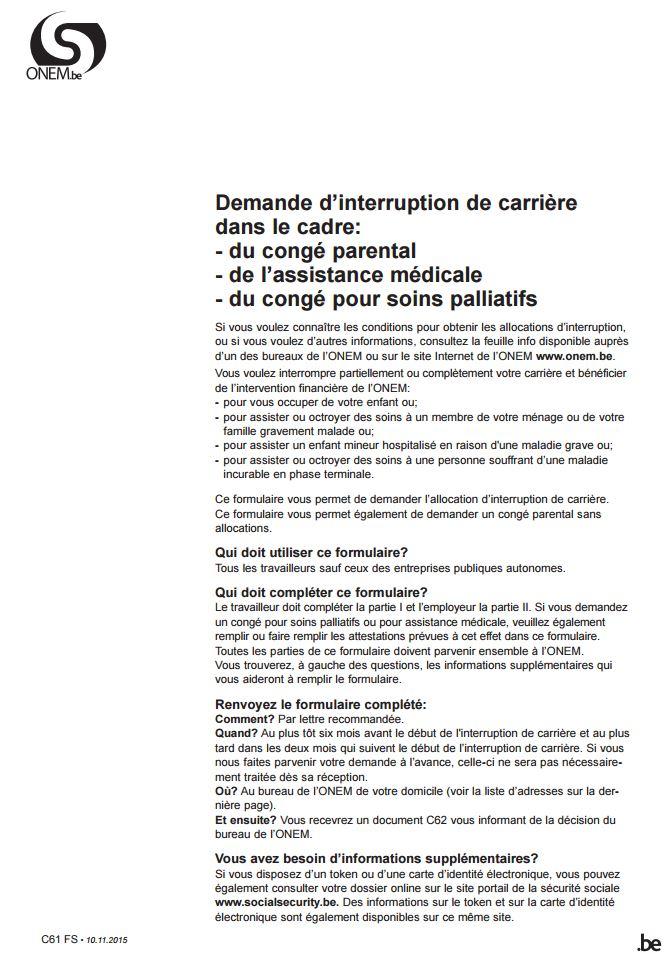 lettre type demande de conge parental belgique - Modele de lettre type