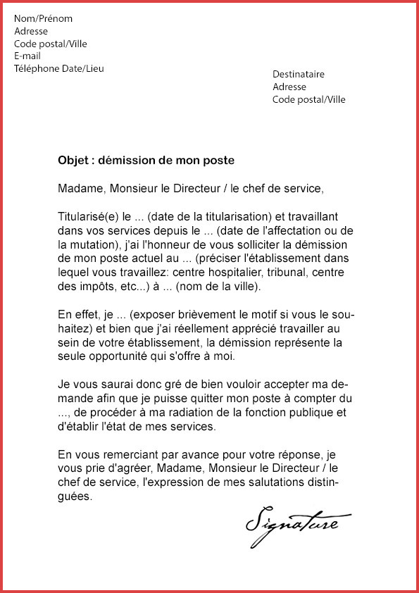 lettre type demande de mutation fonction publique territoriale