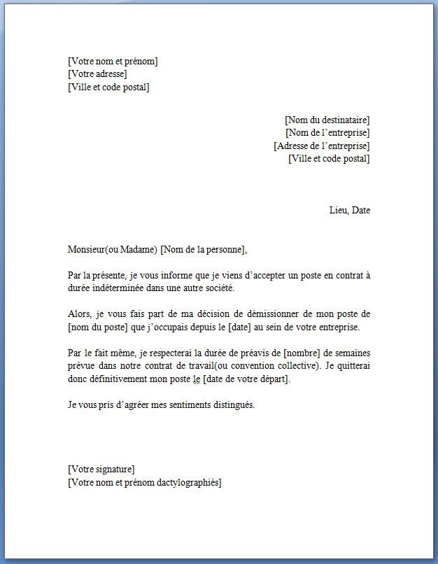 lettre type demission