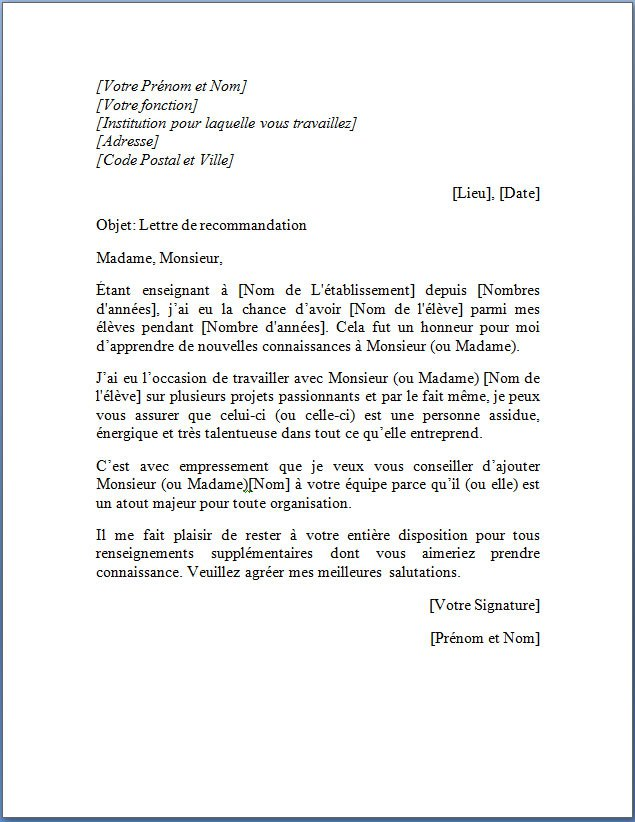lettre type inscription college
