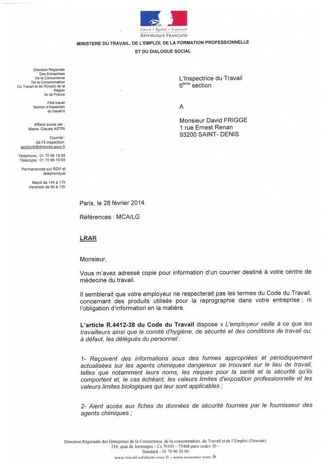 lettre type inspection du travail