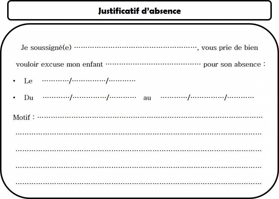 lettre type justificatif d absence - Modele de lettre type