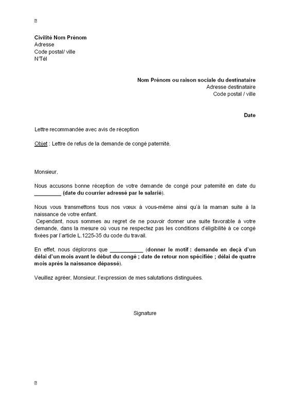 lettre type mandat
