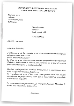 lettre type nuisance sonore