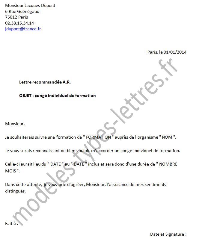 lettre type pour demande de cif a l'employeur