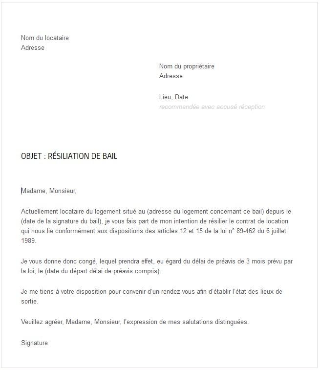 lettre type pour demenagement