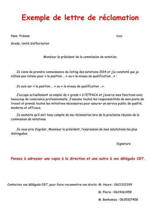 lettre type pour reclamation
