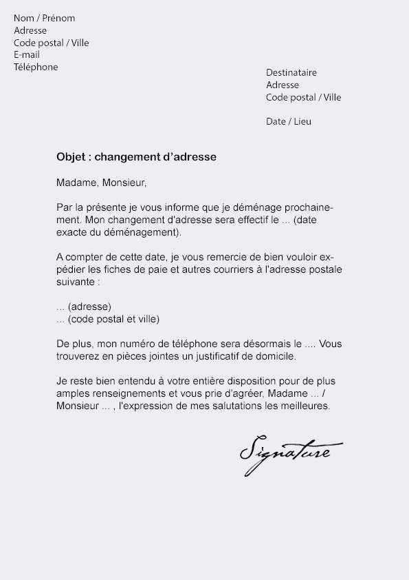 lettre type pour un changement d'adresse