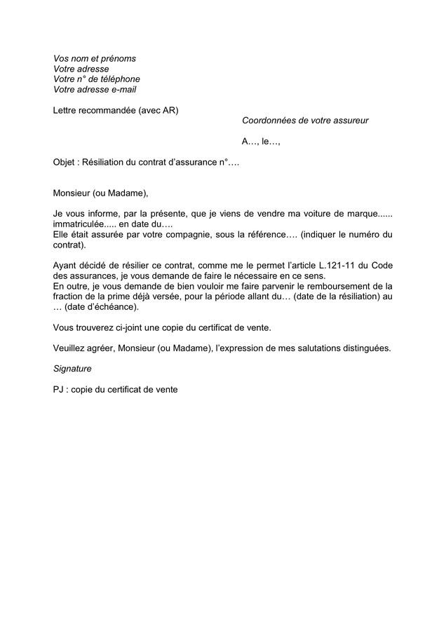 lettre type pour vente de voiture