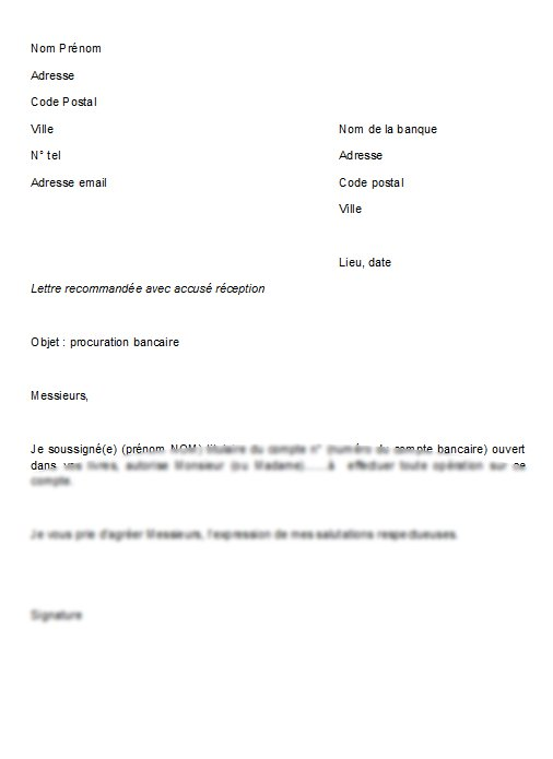 lettre type procuration