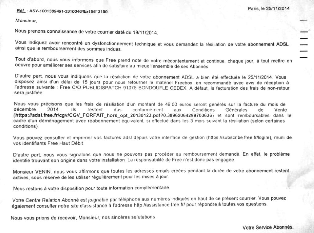lettre type remboursement frais de resiliation free