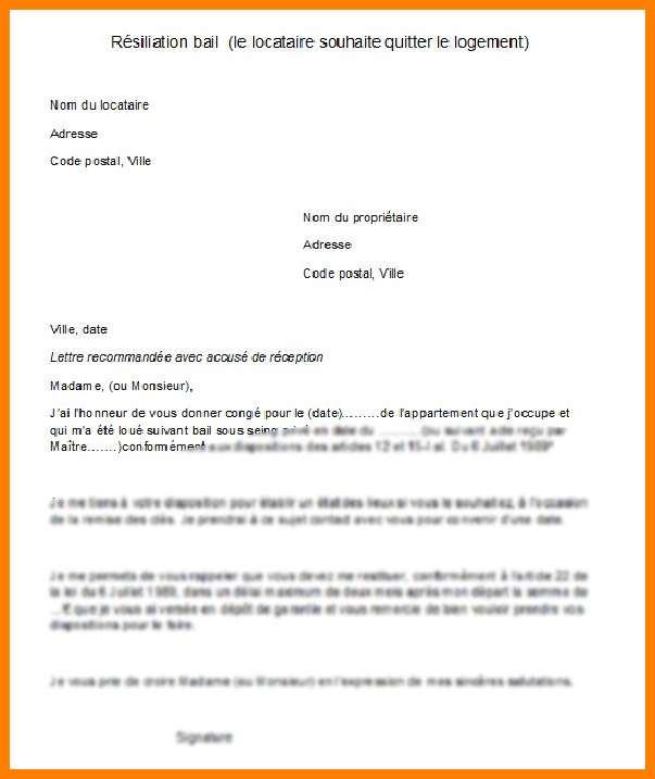 Lettre Type Renon Bail Belgique Modele De Lettre Type