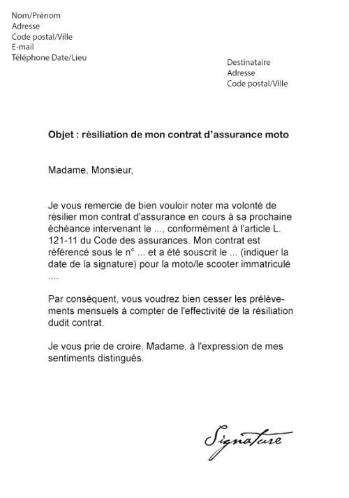 lettre type resiliation assurance emprunteur