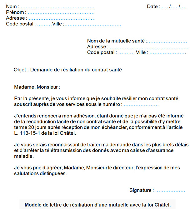 lettre type resiliation assurance maladie