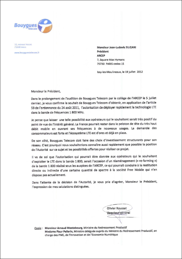 lettre type resiliation bouygues