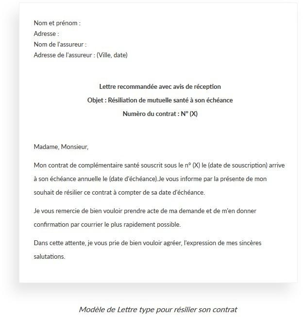 lettre type resiliation contrat assurance