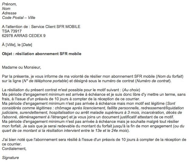 lettre type resiliation mobile sfr