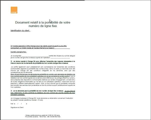 lettre type resiliation orange