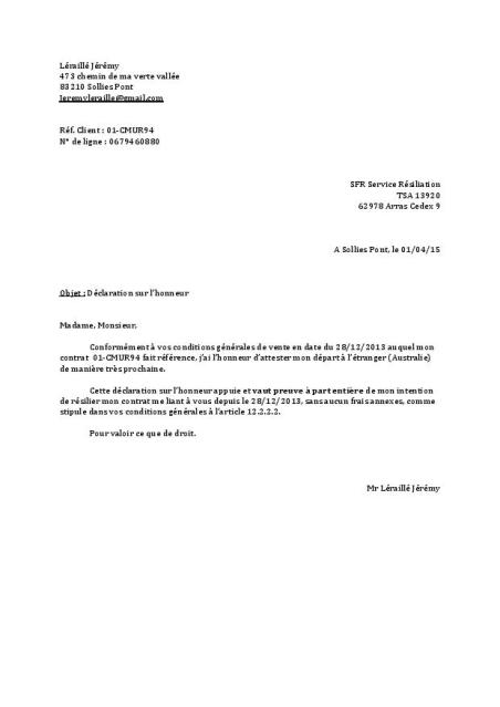 lettre type resiliation sfr