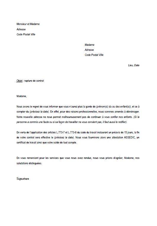 lettre type rupture contrat nounou