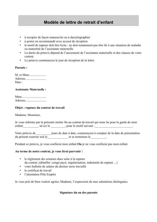 lettre type rupture de contrat assistance maternelle