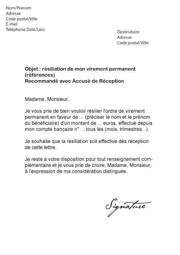 lettre virement permanent