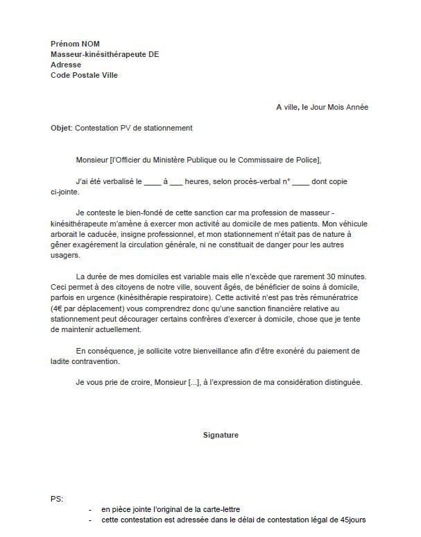 lettres de contestation de pv
