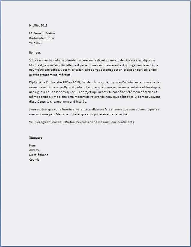 lettres de motivation ingenieur