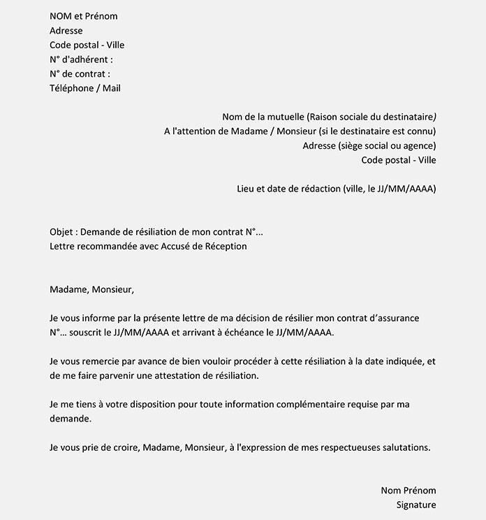 lettres de resiliation de mutuelle