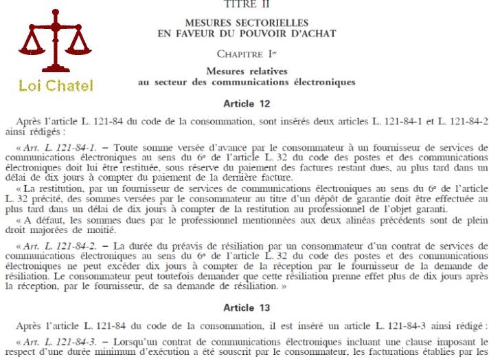 loi sur la resiliation mobile