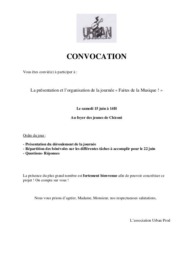 Mail De Convocation A Une Reunion Modele De Lettre Type