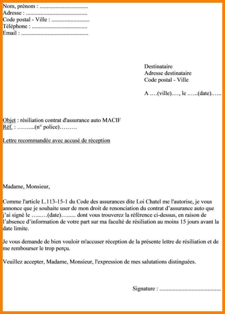 mail resiliation assurance - Modele de lettre type