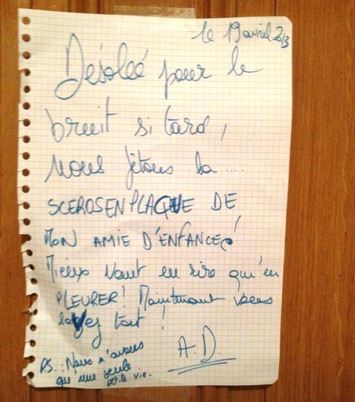 message aux voisins pour le bruit