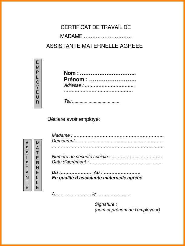model attestation d employeur
