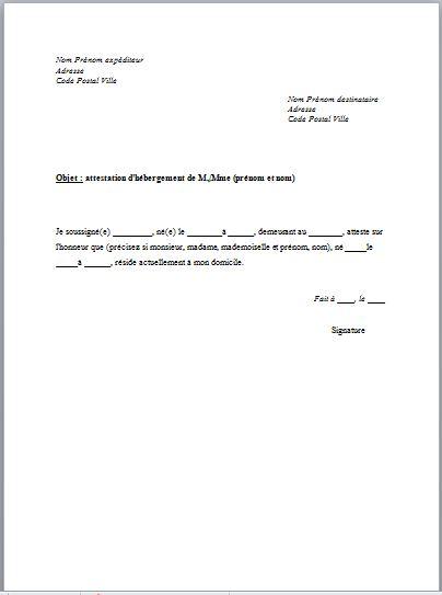 model attestation sur l'honneur d'hebergement - Modele de lettre type