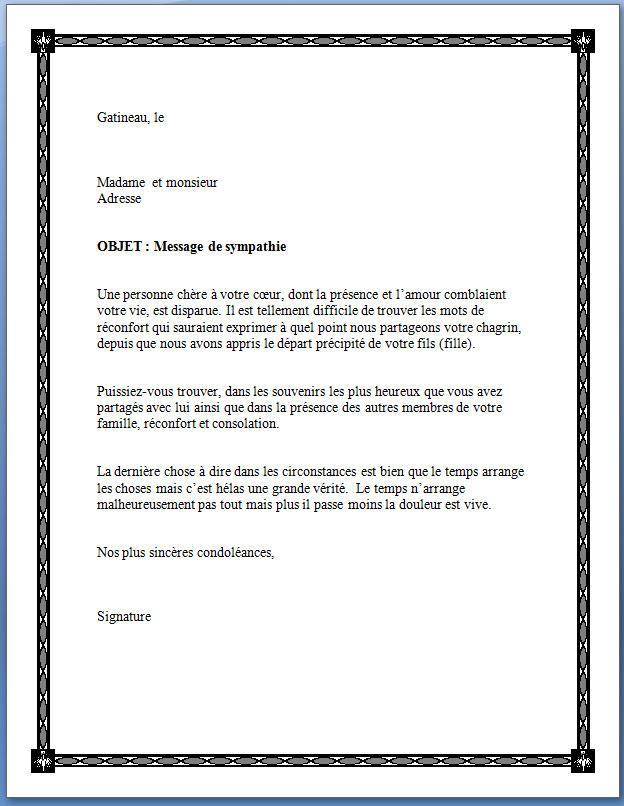 model de lettre de condoleance