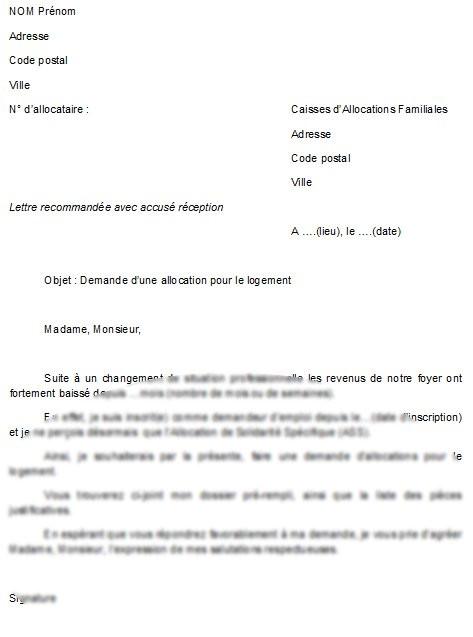 model de lettre de demande d'aide