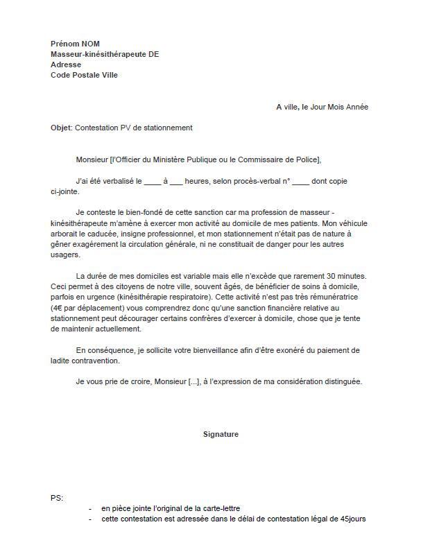 model de lettre pour contester une amende