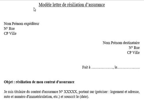 model de lettre pour resilier un contrat d'assurance